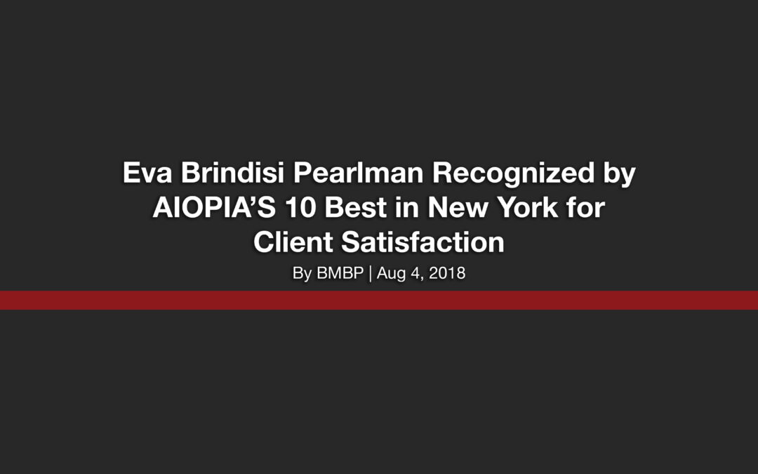 Eva Brindisi Pearlman Recognized by AIOPIA'S 10 Best in New York for Client Satisfaction